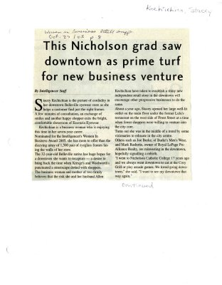 This Nicholson grad saw downtown as prime turf for new business venture