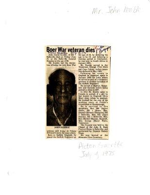 Boer War veteran dies: John Keeble