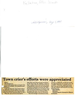 Town crier's efforts were appreciated