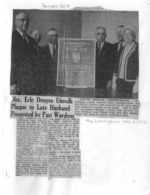 Mrs. Erle Denyes Unveils Plaque to Late Husband Presented by Past Wardens