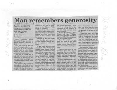 Man remembers generosity