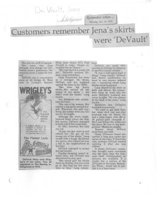 Customers remember Jena's Skirts were 'DeVault'