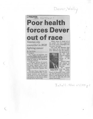Poor health forces Dever out of race