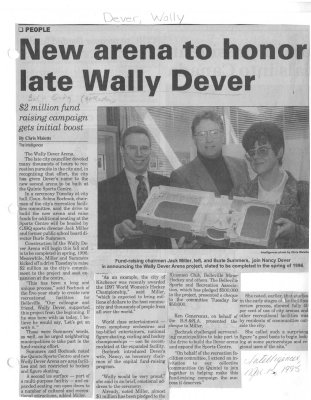 New arena to honor late Wally Dever