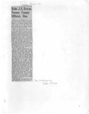 Robt. J. S. Dewar, Former County Official, Dies