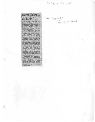 Ernest Dickens dies at 89