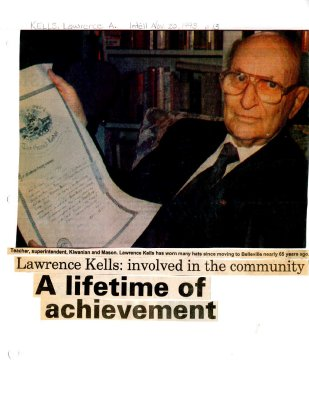 Lawrence Kells: involved in the community.  A lifetime of achievement