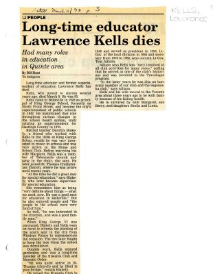 Long-time educator Lawrence Kells dies