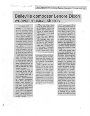 Belleville composer Lenore Dixon weaves musical stories