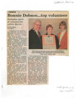 Bonnie Dobson...top volunteer