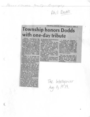 Township honors Dodds with one-day tribute