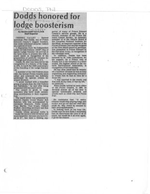 Dodds honored for lodge boosterism