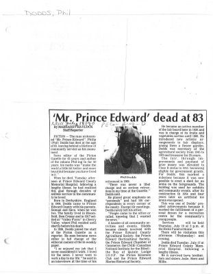 'Mr. Prince Edward' dead at 83