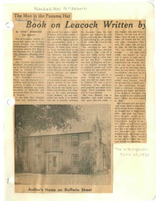 Book on Leacock written by former Belleville resident