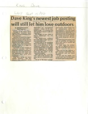Dave King's newest job posting will still let him love outdoors