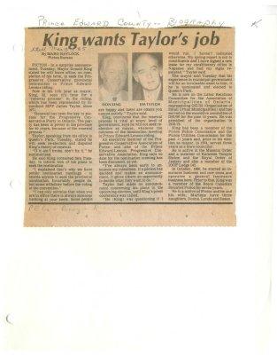 King wants Taylor's job