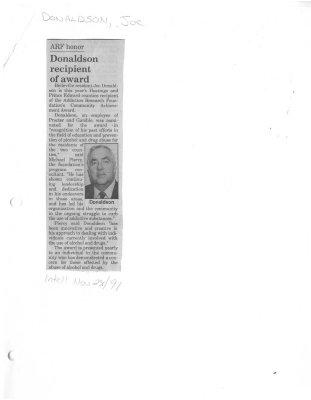 Donaldson recipient of award