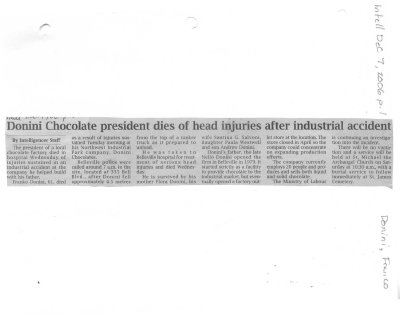 Donini Chocolate president dies of head injuries after industrial accident