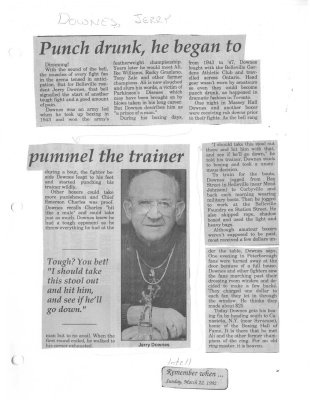 Punch drunk, he began to pummel the trainer