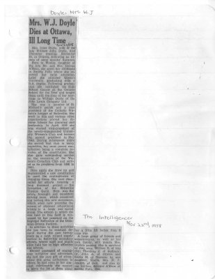 Mrs. W. J. Doyle Dies at Ottawa, Ill Long Time