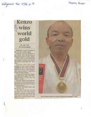 Kenzo wins world gold
