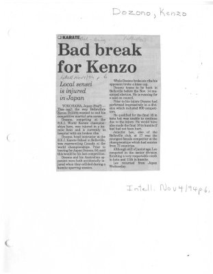Bad break for Kenzo