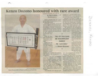 Kenzo Dozono honoured with rare award