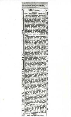 Obituary Mrs. Nathaniel Vermilyea 6 October, 1934 p.1