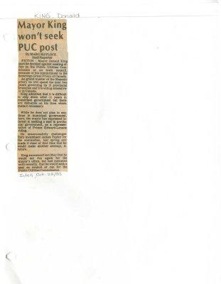 Mayor King won't seek PUC post