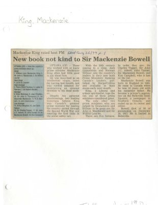 New book not kind to Sir Mackenzie Bowell