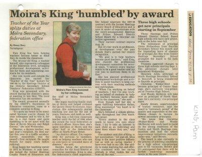 "Moira's King ""humbled"" by award"