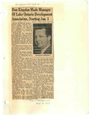 Don Kingdon Made Manager of Lake Ontario Development Association, Starting Jan. 1