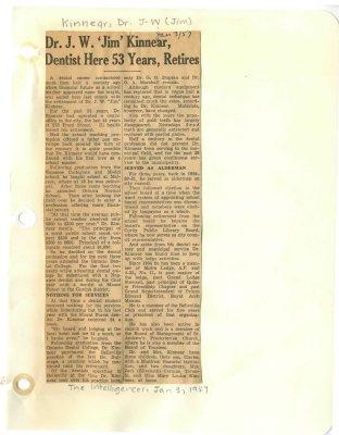 "Dr. J.W. ""Jim"" Kinnear, Dentist here 53 years, retires"