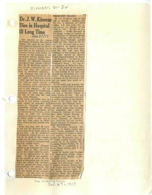 Dr. J.W. Kinnear Dies in Hospital Ill Long Time