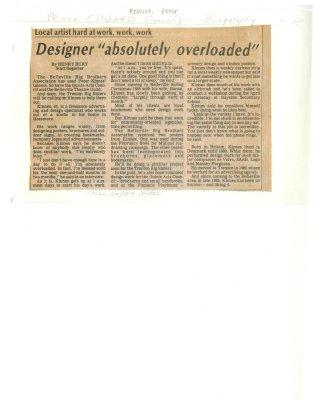 Designer 'absolutely overloaded'