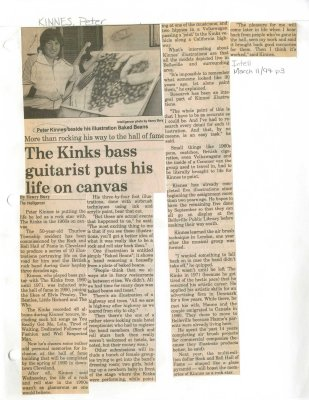 The Kinks bass guitarist puts his life on canvas