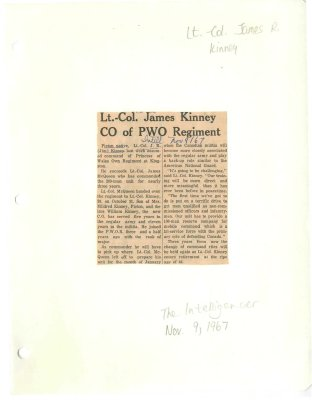 Lt.-Col James Kinney CO of PWO Regiment