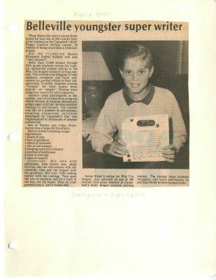 Belleville youngster super writer
