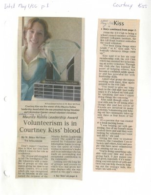 Volunteerism is in Courtney Kiss' blood