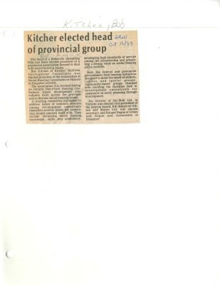 Kitcher elected head of provincial group