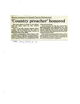 Country Preacher honored