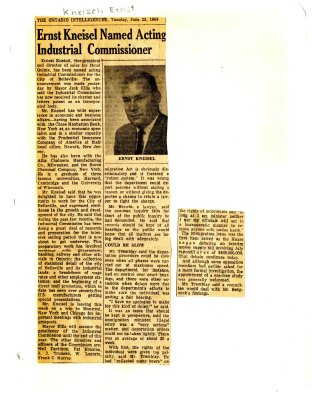 Ernst Kneisel named acting industrial commissioner