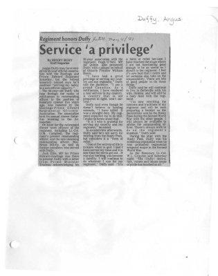 Service 'a privilege'