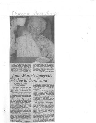 Duminie, Anne Marie (Birthday: 100)