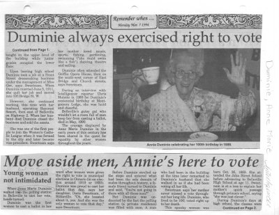 Move aside men, Annie's here to vote/ Duminie always exercised right to vote
