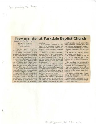 New minister at Parkdale Baptist Church