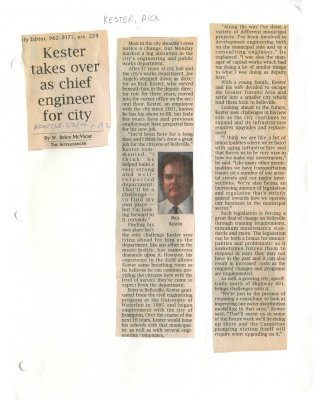 Kester takes over as chief engineer for city