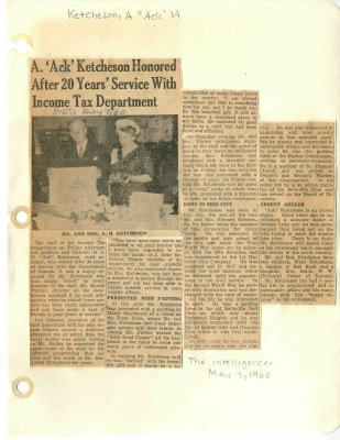 "A. ""Ack"" Ketcheson honored after 20 years' service with income tax department"