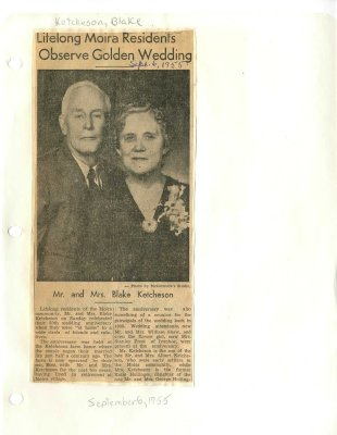 Lifelong Moira residents observe golden wedding: Mr and Mrs. Blake Ketcheson