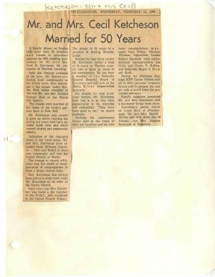 Mr. and Mrs. Cecil Ketcheson married for 50 years